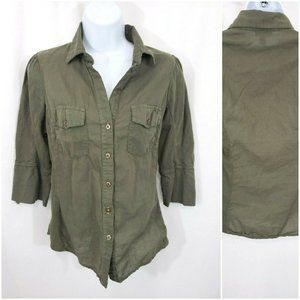 Anthropologie Fei Army Green Button Down Top